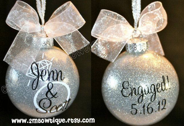 Personalized Engagement Glitter Ornament, Glass. Great Gift Idea