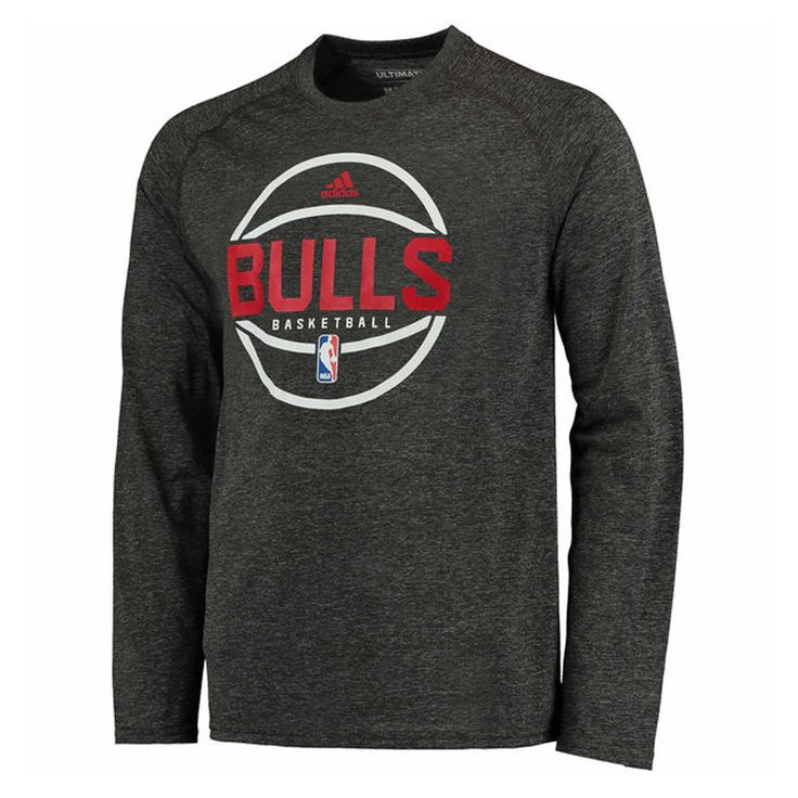 Chicago Bulls Men's Dark Grey Climalite Basketball Logo Long Sleeve Shirt  by Adidas #Chicago #