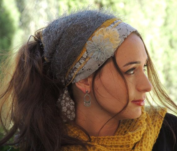 Lovely Gray Winter Headband handmade decorated with two flowers(gray&yellow), Mitpachat (Head Covering, Scarf, Tichel), fashionable and so
