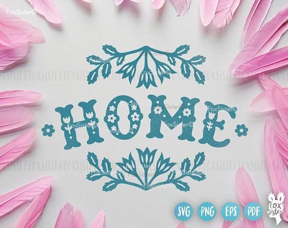 Home House SVG Papercut Template | Floral papercut template | Cute svg | Housewarming svg | Words svg | Home Sweet Home svg | Vinyl Decal | House Clipart | Cricut Silhouette Hand drawn, SVG, PNG, PDF, EPS formats. For personal and commercial use.