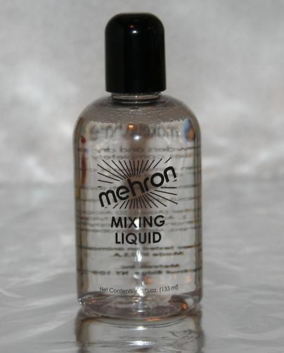 Mehron Mixing Liquid | eBay $12.99 Our NEW Improved Mixing Liquid now contains Fixative. A liquid base for mixing with dry pigments such as our Metallic Powders. Create a liquid application that dries completely with our Mixing Liquid and dry color pigments. The Mixing Liquid holds for extended periods of time but still washes off easily with soap and water. The Mixing Liquid enables you to make unique liquid makeup for special projects in body painting and face painting.