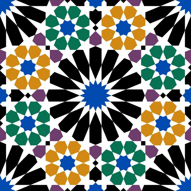 Patrón árabe con el diseño de los azulejos del cartillo de la Alhambra.