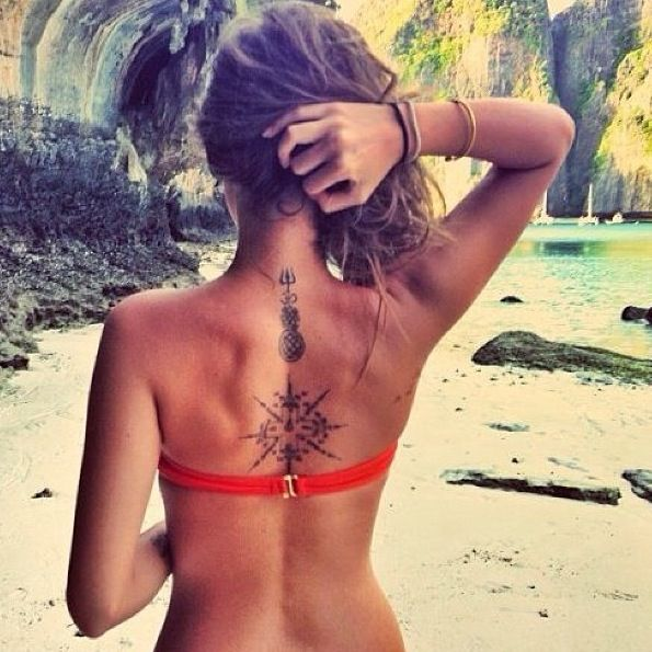 neck and back tattoo/ i put this here because I am considering placement. left shoulder vs centered