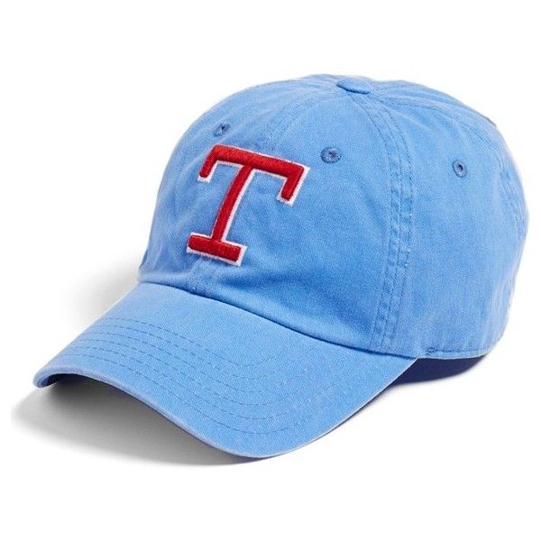 Women's American Needle 'New Raglan - Texas Rangers' Baseball Cap (£21) ❤ liked on Polyvore featuring accessories, hats, royal, crown hat, cotton baseball cap, embroidered baseball hats, embroidered hats and texas rangers baseball hat