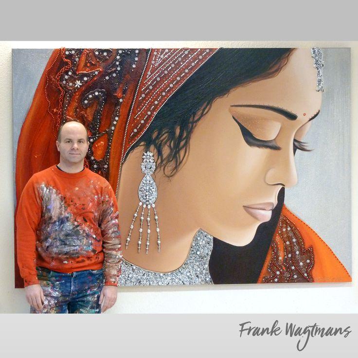 """Groot exclusief handgeschilderd schilderij van portretkunstenaar Frank Wagtmans. """"Indian Purity"""" (140x200cm) is een schilderij dat is opgebouwd uit vele lagen acrylverf en afgewerkt met exclusieve materialen om meer diepte en allure te creëren. Wilt u een uniek Oosters schilderij kopen bezoek dan eens de website van de kunstenaar en laat u inspireren!"""