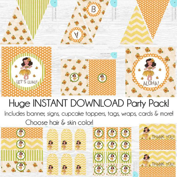 Vintage Luau Party Decorations Luau Birthday Party by BeeAndDaisy
