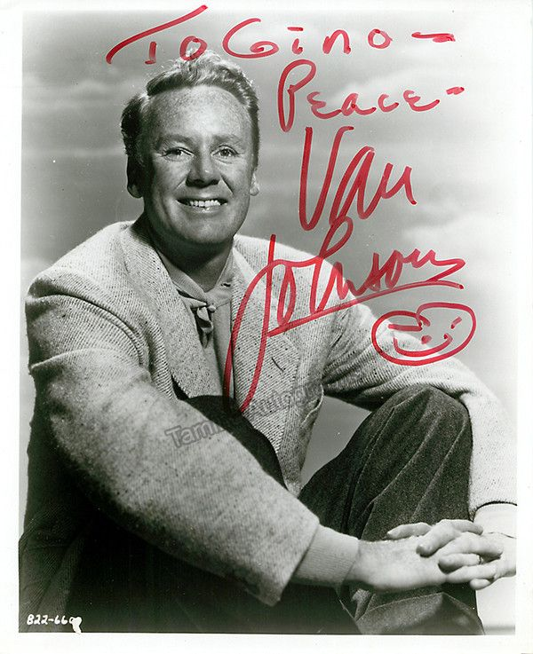 American film and TV actor (1916-2008), and a major film start during and after WWII. Johnson was active from 1935 through 1992. Signed photo, inscribed, 8 x 10 inches, excellent condition.
