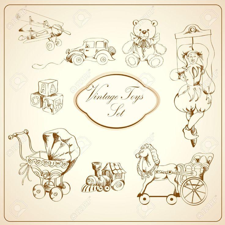 Игрушки декоративные ретро Дети эскиз набор самолет автомобиль плюшевого мишку кукольного изолированы векторных иллюстраций иконы Клипарты, векторы, и Набор Иллюстраций Без Оплаты Отчислений. Image 27595491.