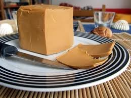 Gjetost - Norwegian brown cheese made from goat and cow milk, then caramelized. Very delicious.