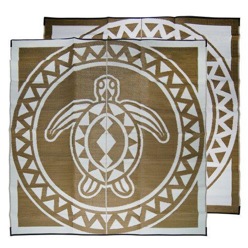 Turtle Circle   Torres Strait Island Design Mat   Bronze White   Recycled Mats