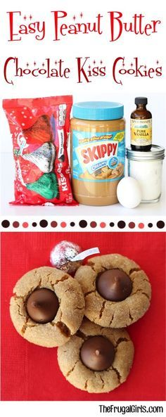 Easy Peanut Butter Chocolate Kiss Cookies Recipe! ~ from TheFrugalGirls.com ~ these sweet little Hershey Kiss Cookies are perfect for your holiday parties and Christmas Cookie Exchanges!  Just 5 ingredients and no flour!  They're simple to make and crazy delicious!!