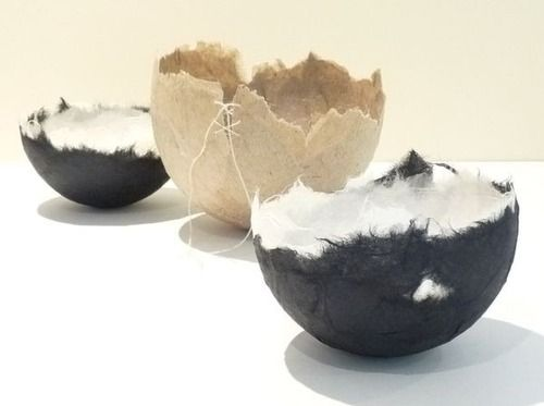 Ann Symes. New handmade paper bowls for Lingwood Samuel Gallery, Godalming.