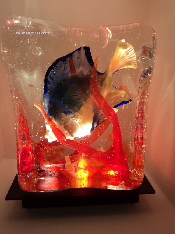 Reds and oranges give this wonderful Venetian aquarium lamp a beautiful glow. You will see it on out site soon, but in the meantime, please get in touch with us at sales@italian-lighting-centre.co.uk if you would like to order one.