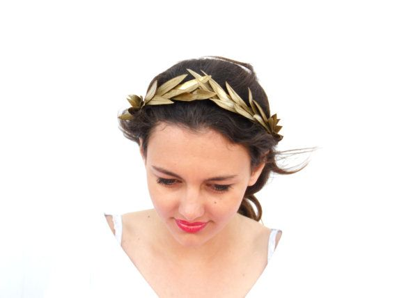 Gold leaf Crown Gold Headband Golden leaves by BlackSwanFeather
