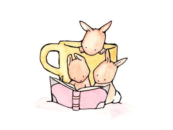 Reading Bunnies 8x10 Children Nursery Art Print on Etsy, $20.00
