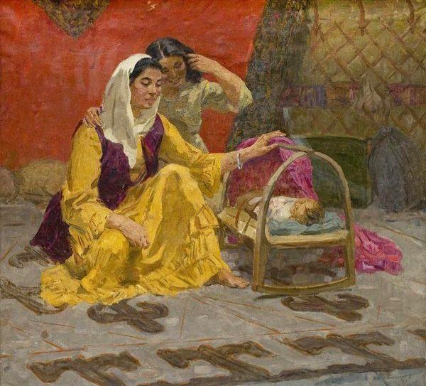 "Kazakh painter Ali Djusupov. ""The happiness"", 1959"