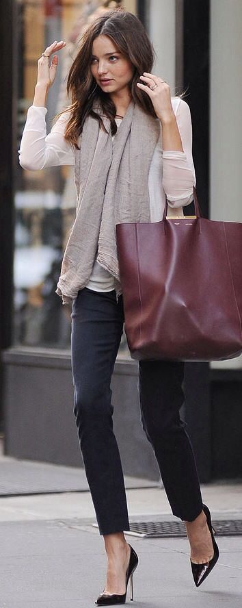 Miranda Kerr // oxblood tote + black heels + black trousers + white shirt + grey scarf