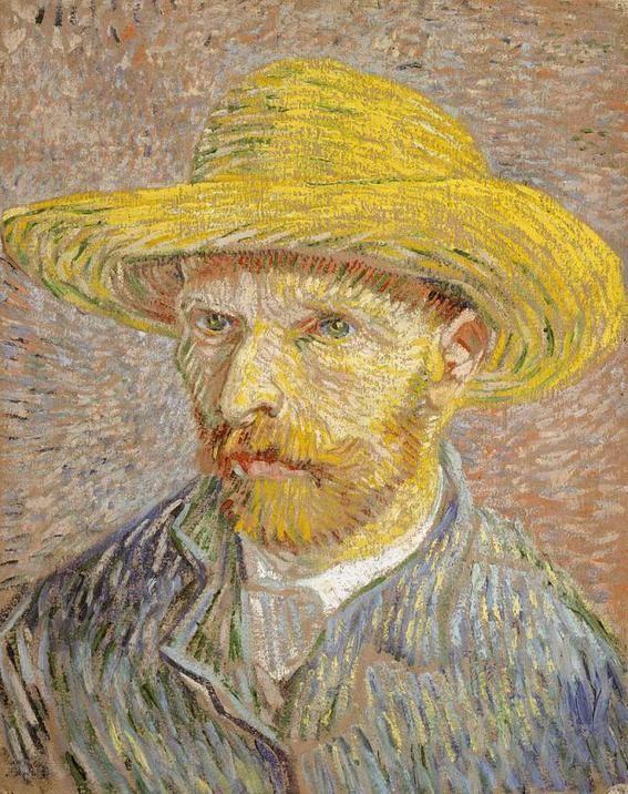 Pinturas de Van Gogh Autorretrato-sombrero-paja  afdae7d2c77