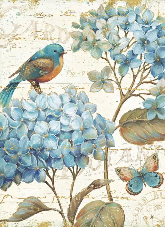 "Daphne Brissonnet Blue Garden II Print - Demand Lithograph on Paper 24"" x 24""  #Impressionism"