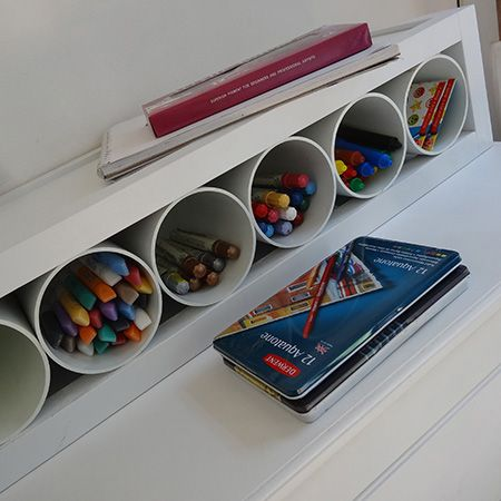 Designed for easy DIY, this multi-purpose storage rack is made using PVC pipes and can be used for storing a wide range of item. Use in a craft or hobby room for storing paintbrushes or art and craft supplies - use as a magazine rack - or you can even use as a wine rack. We designed the unit to accommodate 110mm diameter PVC pipes that you will find at your local Builders Warehouse. - See more at: http://www.home-dzine.co.za/diy/diy-craft-storage.htm#sthash.wupXCSsi.dpuf