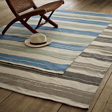 Summer Stripe Printed Cotton Rug westelm.com: Printed Cotton, Prints Cotton, Area Rugs, Summer Stripes, Cotton Rugs, Pools, Stripes Prints, West Elm, Modern Rugs