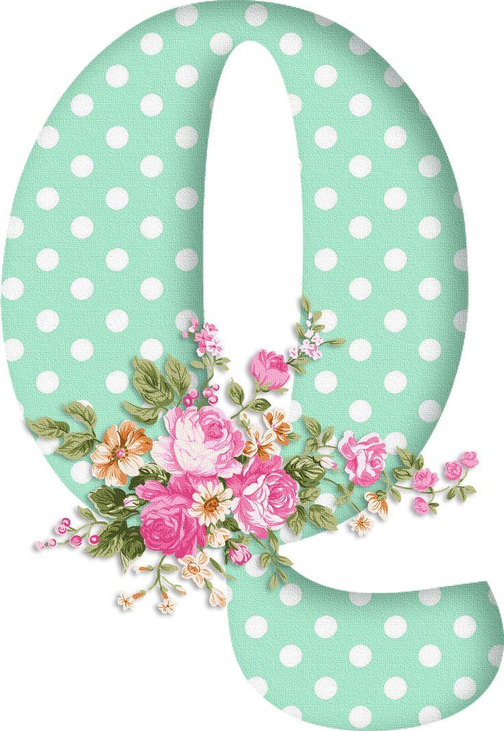 PAPIROLAS COLORIDAS: Abecedario con flores. Letras mayúsculas verdes, puntos blancos. Letra Q.