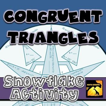 FREE:  This activity is a worksheet-style set of practice problems but also makes a nice winter decoration for your classroom.    Topics included in the questions on this sheet: - Writing congruency statements - Using Triangle Sum Theorem - Identifying corresponding parts of triangles - Using base angles of isosceles triangles - Setting up and solving linear equations to find missing ...