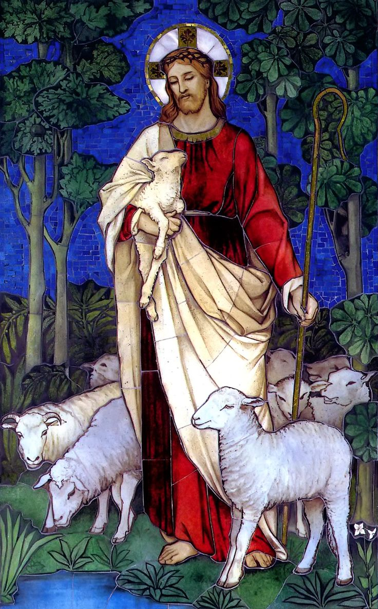 Jesus, The Good Shepherd in stained glass