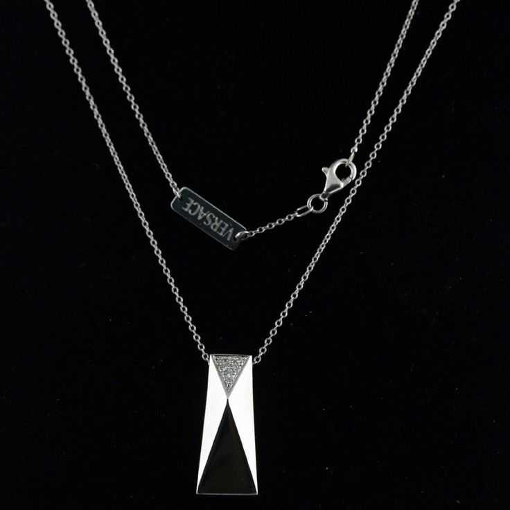 Authentic Versace 18k White Gold Diamond Womens Necklace   eBay