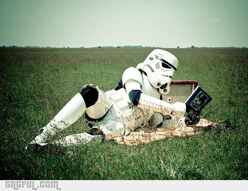 Even Storm Troopers need time to relax...: Gifts Cards, Lazy Day, Storms Troopers, Alone Time, Stars War, Stormtroopers, Sunday Afternoon, Take A Break, Starwars
