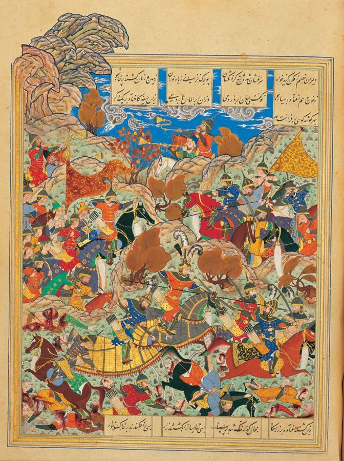 Battleground of Timur and Egyptian King by Kamal ad-din Behzad (ca. 1515). Tehran Museum of Contemporary Art, Tehran.   # Pin++ for Pinterest #