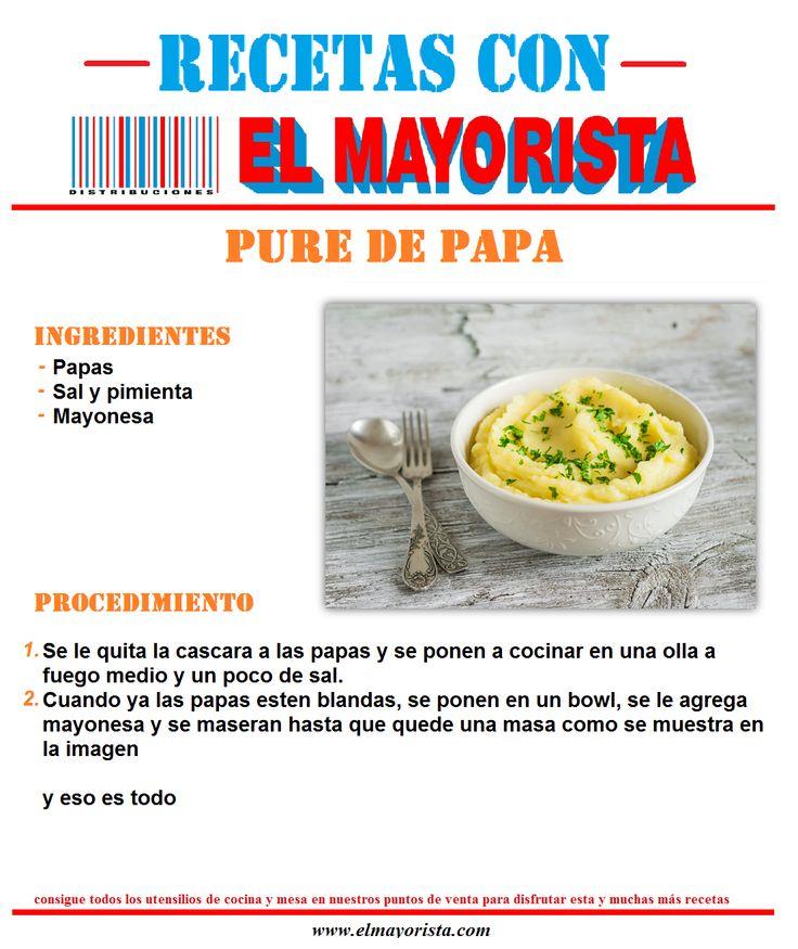 Para hoy que tal un pure de papa como acompañamiento del almuerzo.  Consigue todos los utensilios de mesa y cocina en nuestros puntos de venta para disfrutar esta y muchas recetas más. #elmayorista  http://www.elmayorista.com/
