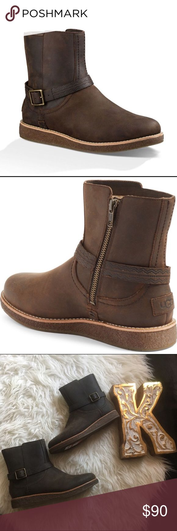NWT Ugg 'Camren' short brown buckle boot Brand new, classic ugg with a twist, leather outside and sheep lining, buckled with a tribal stamp on belt, super cute short brown boot! UGG Shoes