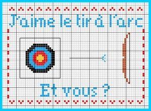 Sport - tir à l'arc - point de croix - cross stitch - Blog : http://broderiemimie44.canalblog.com/