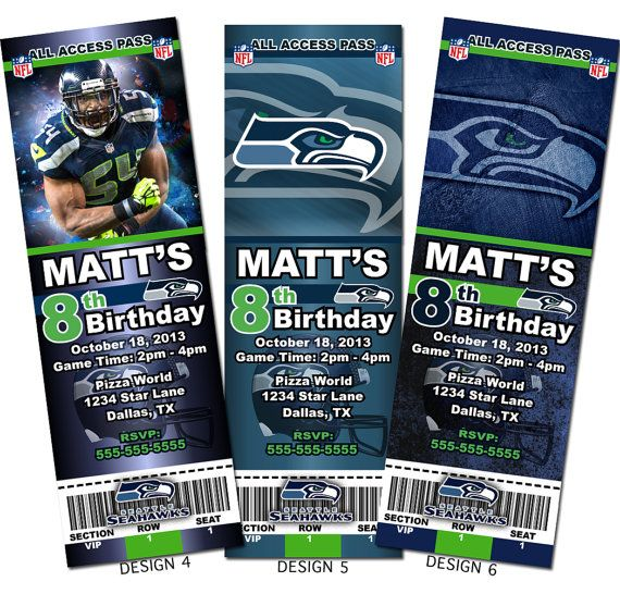 Printable Birthday Party Invitation Card Detroit Lions: 11 Best Seattle Seahawks Birthday Party Images On