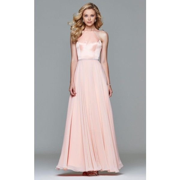 Faviana 7761 Stylist Picks Long High Neckline Sleeveless ($338) ❤ liked on Polyvore featuring dresses, gowns, formal dresses, soft peach, prom dresses, long prom dresses, pink prom dresses, halter prom dresses and halter top prom dresses