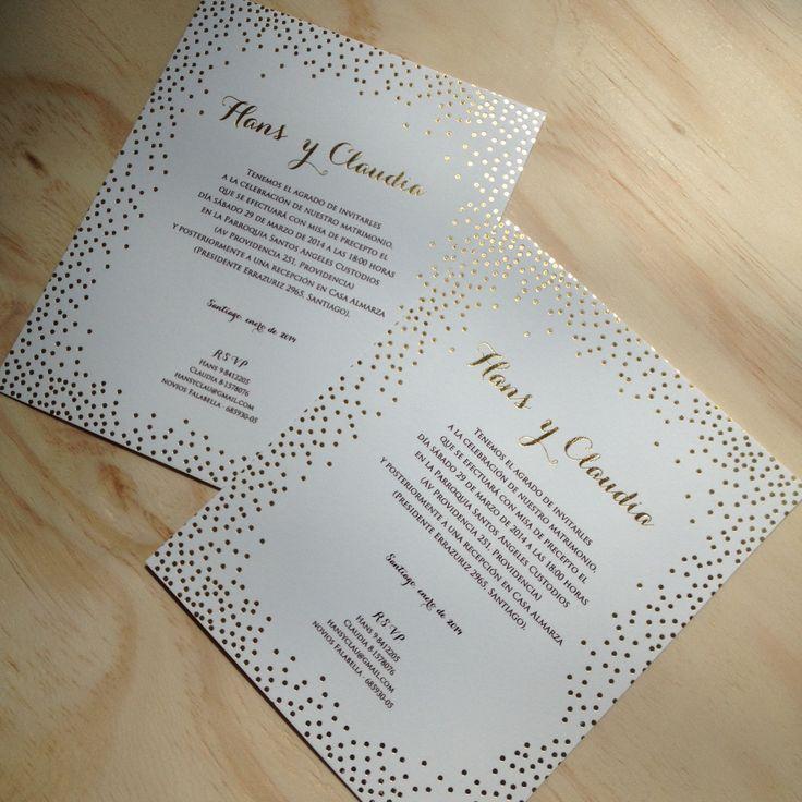 confetti daydreams wedding invitations%0A Golden foil dots wedding invitation