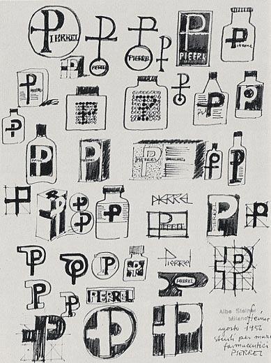 1956-59 Albe Steiner studi per marchio e per il packaging per la ditta farmaceutica Pierrel