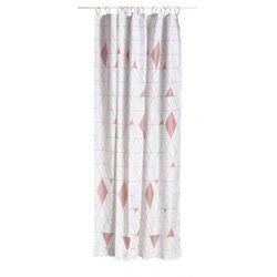 Rideau de douche en Polyester Arlequin Rose et Blanc