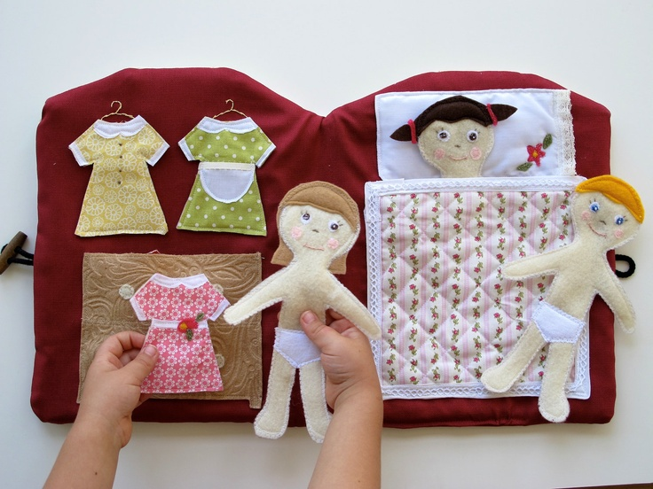 Handmade Quiet Book, Doll House Book, Travel and Church Quiet Book with felt people. $248.00, via Etsy.