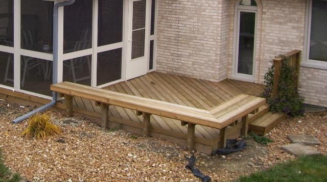 25 best images about decks on pinterest wood decks for Small deck seating ideas