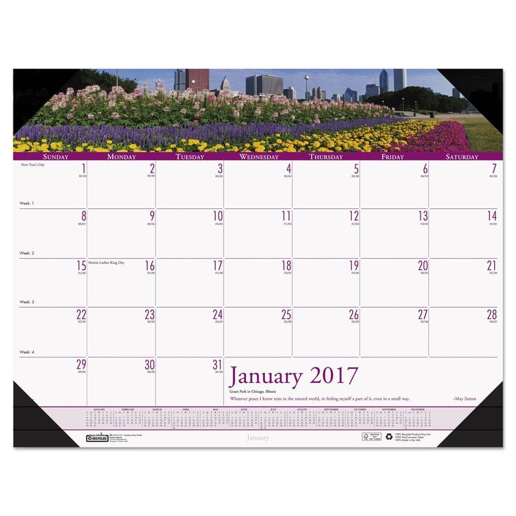 House of Doolittle Recycled Gardens of the World Photo Monthly Desk Pad Calendar 22 x 17 2017