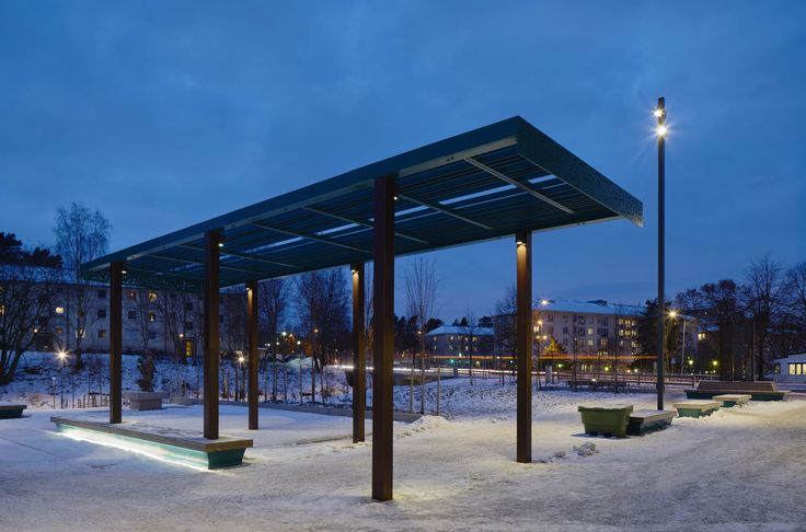 /Tyresö city park/ lighting design by Black ljusdesign - Park lighting - Lighting design - Public spaces - Bench lighting