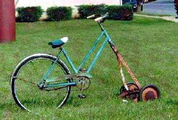 Bicycle, lawn mower :)