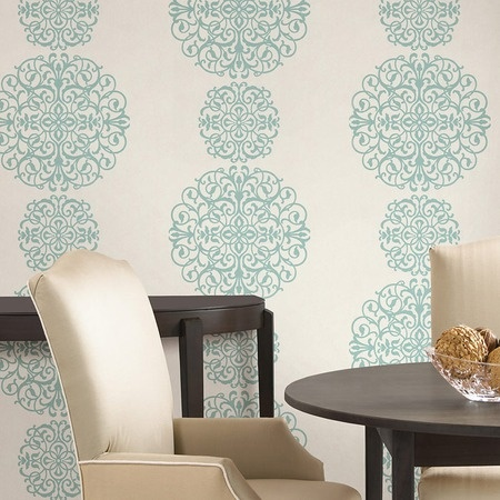 Salon Medallion Wallpaper: Dining Rooms, Home Fashion, Wallpapers Patterns, Aqua Medallions, Wallpapers Ideas, Medallions Wallpapers, Decals Wallpapers, Contemporary Wallpaper, Accent Wall