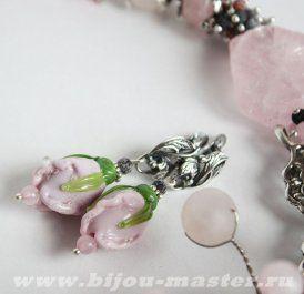 ФЕЯ ЦВЕТОВ - розовые серьги с цветами из стекла ручной работы