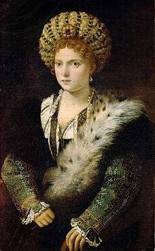 "Isabella d'Este was Marchesa of Mantua and one of the leading women of the Italian Renaissance as a major cultural and political figure. She was a patron of the arts as well as a leader of fashion, whose innovative style of dressing was copied by women throughout Italy and at the French court. The author Matteo Bandello described her as having been ""supreme among women"".  Diplomat Niccolò da Correggio went even further by hailing her as ""The First Lady of the world""."