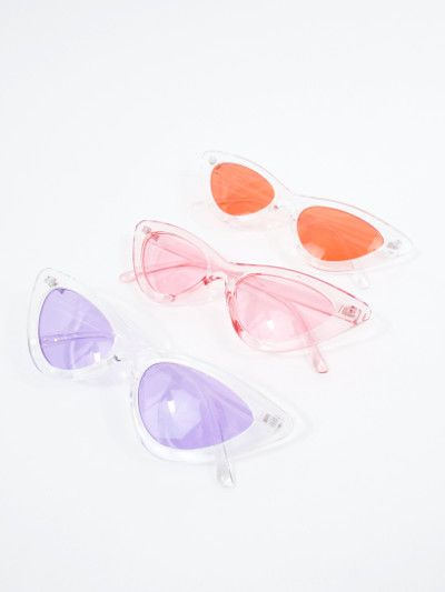 39ba77330e Space Babe Clear Skinny Cat Eye Sunglasses - Total Recall Vintage ...