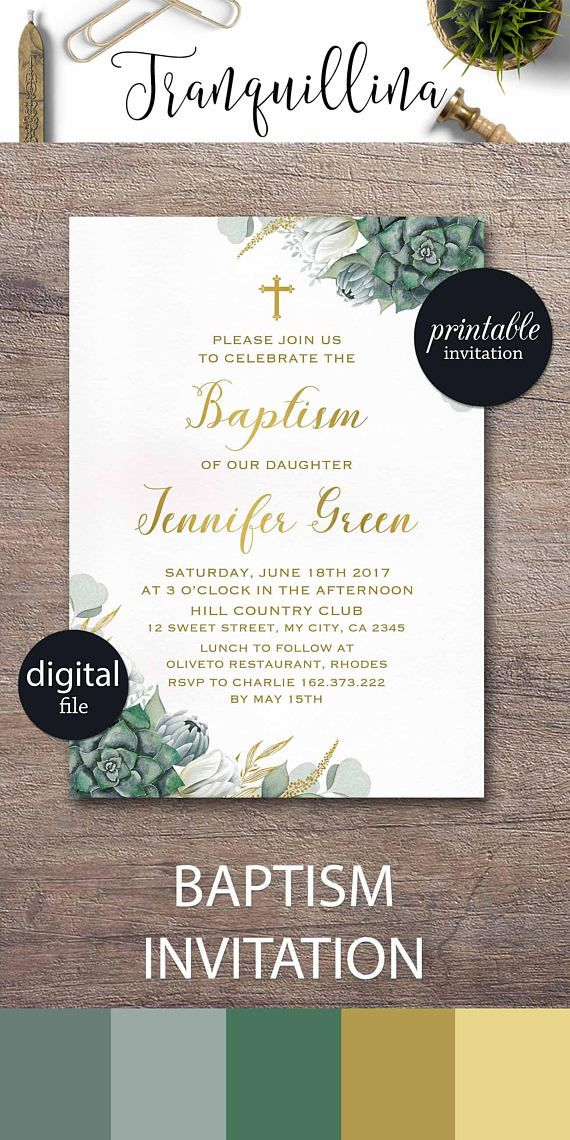 formal business invitation card sample%0A Printable Baptism Invitation Floral Baptism Invitation Girl or boy  christening invite  Green gold watercolor succulent
