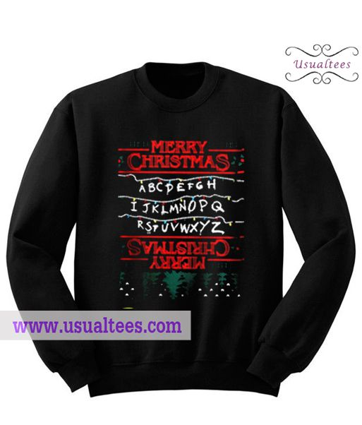Stranger Things Merry Christmast Sweatshirt from usualtees.com This sweatshirt is Made To Order, one by one printed so we can control the quality.